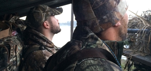 Travis and Jake surveying the skies for any sign of waterfowl.